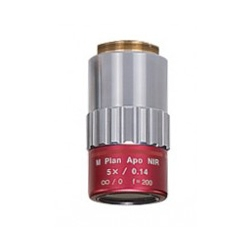 5x near IR lens for laser applications. Objective with red barrel.