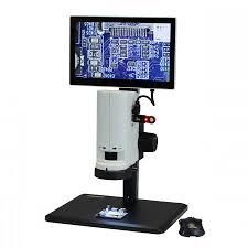 microscope on track stand with monitor